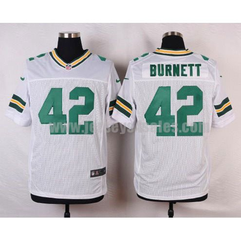 Men's Green Bay Packers #42 Morgan Burnett White Stitched Nike NFL Road Elite Jersey