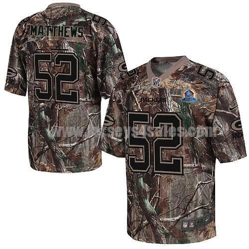 Nike Packers #52 Clay Matthews Camo With Hall of Fame 50th Patch Men's Stitched NFL Realtree Elite Jersey