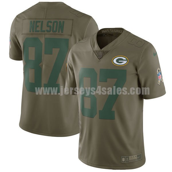 Men's Green Bay Packers #87 Jordy Nelson Olive Nike NFL 2017 Salute To Service Limited Jersey