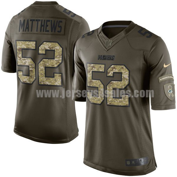 Youth Green Bay Packers #52 Clay Matthews Green Stitched Nike NFL Salute To Service Elite Jersey
