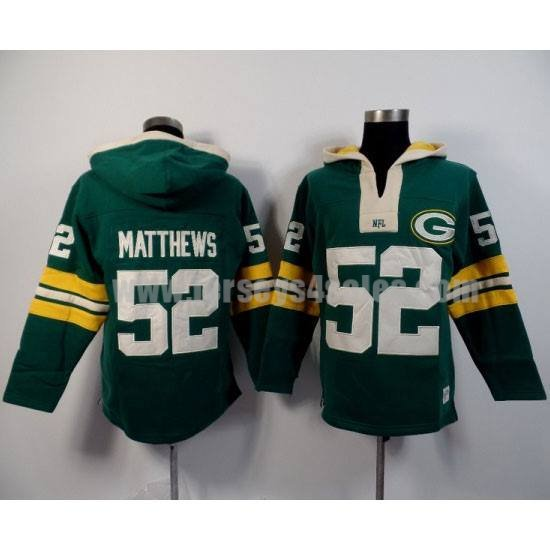 Men's Green Bay Packers #52 Clay Matthews Green Team Color New Pullover NFL Hoodie