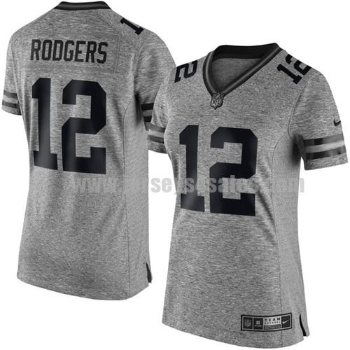 Women's Green Bay Packers #12 Aaron Rodgers Grey Stitched Nike NFL Gridiron Gray Limited Jersey
