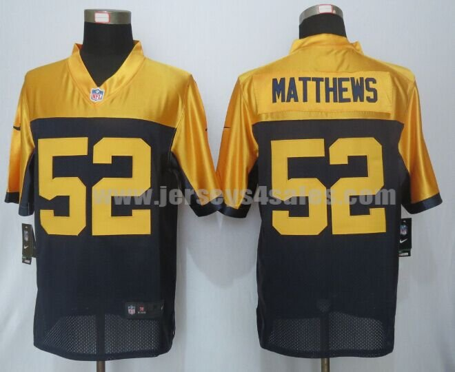 Men's Green Bay Packers #52 Clay Matthews Navy Blue Stitched Nike NFL New Alternate Limited Jersey