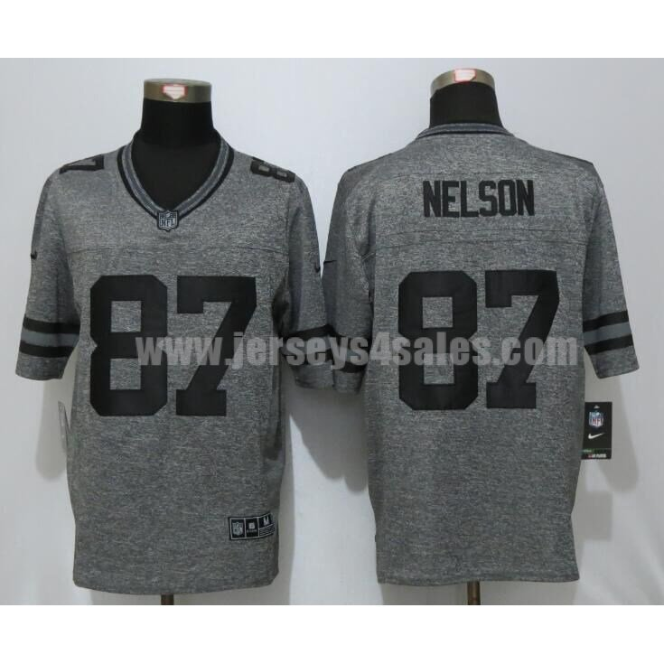 Men's Green Bay Packers #87 Jordy Nelson Grey Stitched Nike NFL Gridiron Gray Limited Jersey