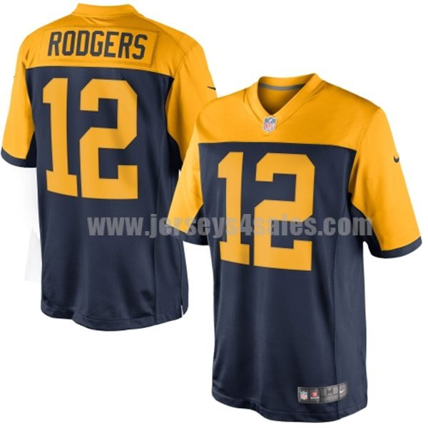 Youth Green Bay Packers #12 Aaron Rodgers Navy Blue Stitched Nike NFL New Alternate Limited Jersey