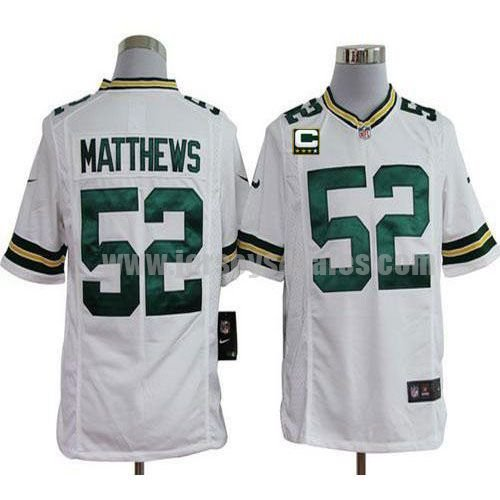 Nike Packers #52 Clay Matthews White With C Patch Men's Stitched NFL Game Jersey