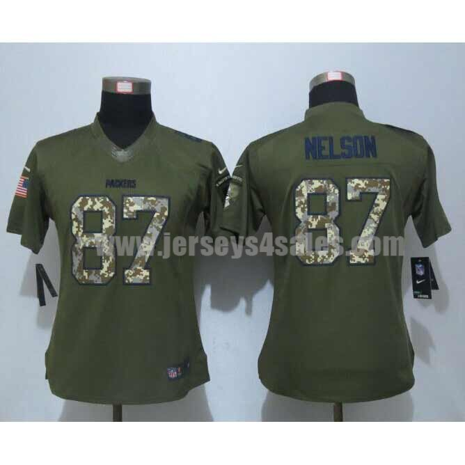 Women's Green Bay Packers #87 Jordy Nelson Green Stitched Nike NFL Salute To Service Limited Jersey