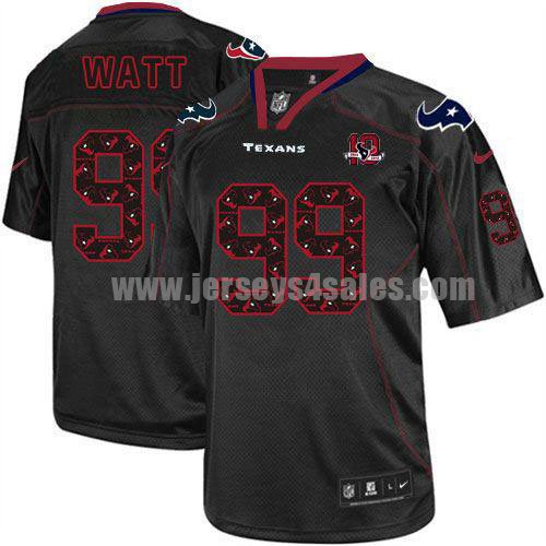 Nike Texans #99 J.J. Watt New Lights Out Black With 10th Patch Men's Stitched NFL Elite Jersey