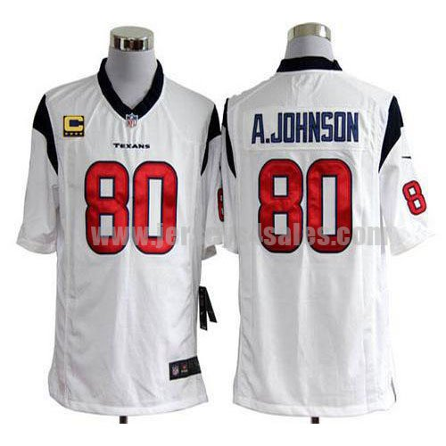 Nike Texans #80 Andre Johnson White With C Patch Men's Stitched NFL Game Jersey