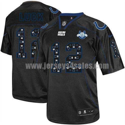 Nike Colts #12 Andrew Luck New Lights Out Black With 30TH Seasons Patch Men's Stitched NFL Elite Jersey