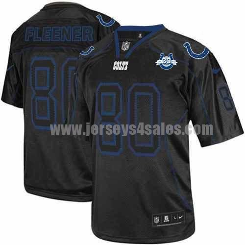 Nike Colts #80 Coby Fleener Lights Out Black With 30TH Seasons Patch Men's Stitched NFL Elite Jersey