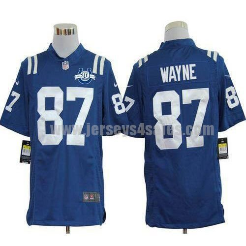 Nike Colts #87 Reggie Wayne Royal Blue Team Color With 30TH Seasons Patch Men's Stitched NFL Game Jersey