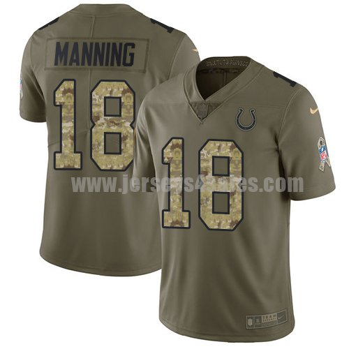 Nike Indianapolis Colts #18 Peyton Manning Olive/Camo Men's Stitched NFL Limited 2017 Salute To Service Jersey