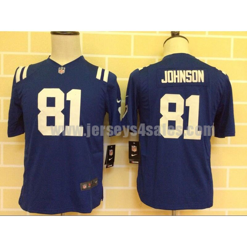 Youth Indianapolis Colts #81 Andre Johnson Royal Blue Stitched Nike NFL Home Game Jersey