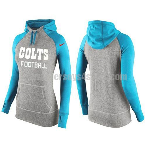 Women's Indianapolis Colts Grey/Light Blue All Time Performance NFL Hoodie