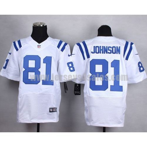 Nike Colts #81 Andre Johnson White Men's Stitched NFL Elite Jersey