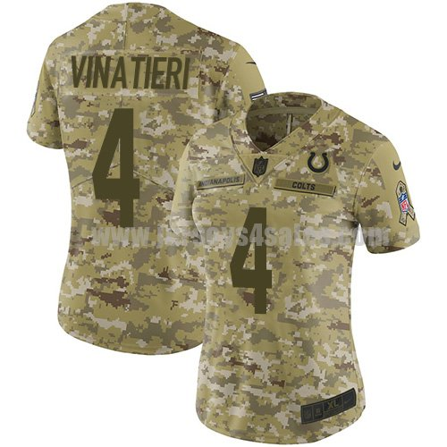 Nike Indianapolis Colts #4 Adam Vinatieri Camo Women's Stitched NFL Limited 2018 Salute to Service Jersey