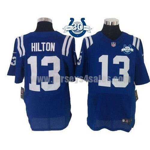 Nike Colts #13 T.Y. Hilton Royal Blue Team Color With 30TH Seasons Patch Men's Stitched NFL Elite Jersey