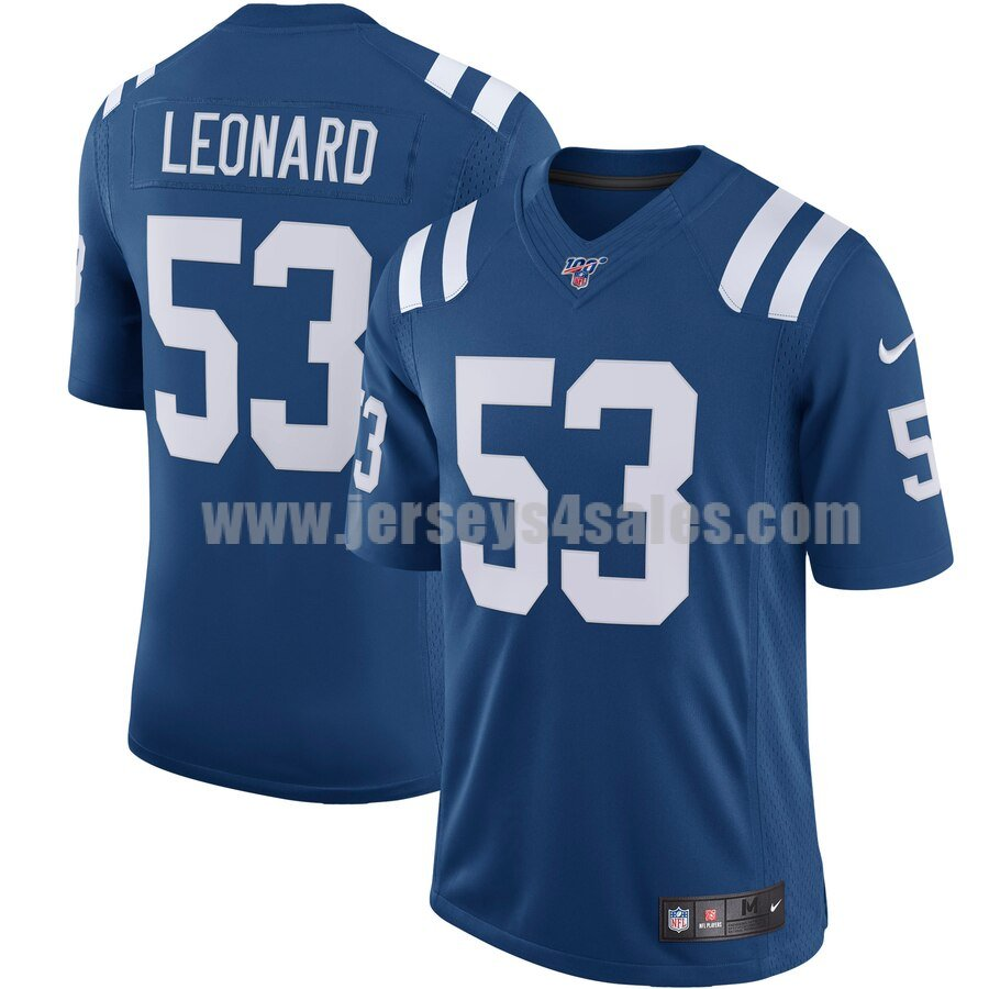 Men's Indianapolis Colts #53 Darius Leonard Nike Royal NFL 100 Vapor Limited Jersey