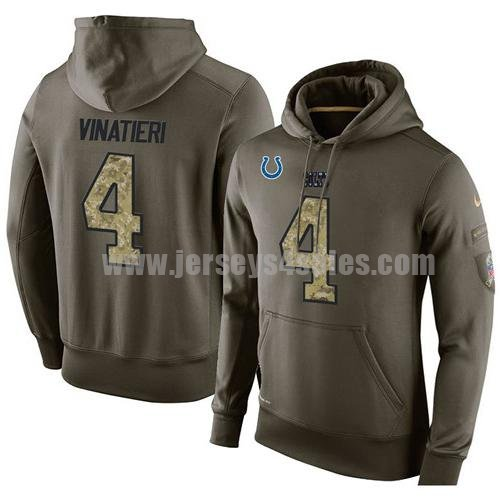 NFL Men's Nike Indianapolis Colts #4 Adam Vinatieri Stitched Green Olive Salute To Service KO Performance Hoodie