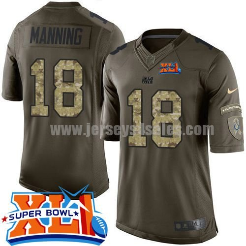 Nike Indianapolis Colts #18 Peyton Manning Green Super Bowl XLI Youth Stitched NFL Limited Salute to Service Jersey