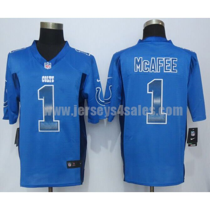 Men's Indianapolis Colts #1 Pat McAfee Royal Blue Team Color Stitched Strobe Nike NFL Limited Jersey