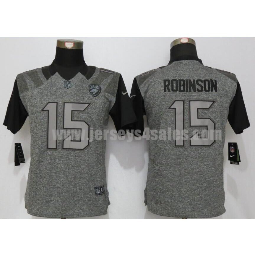 Women's Jacksonville Jaguars #15 Allen Robinson Grey Stitched Nike NFl Gridiron Gray Limited Jersey