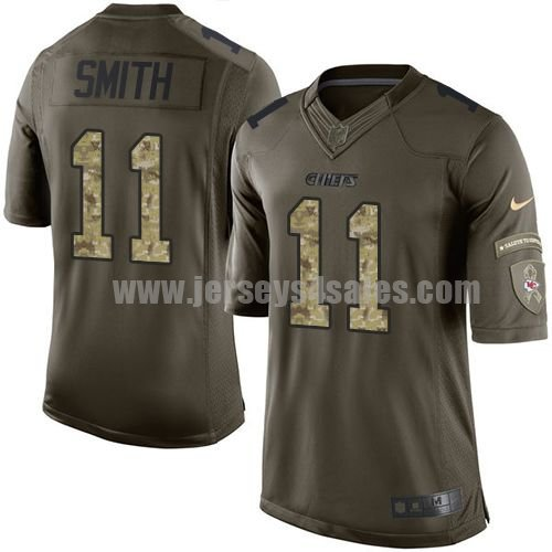 Youth Kansas City Chiefs #11 Alex Smith Green Stitched Nike NFL Salute To Service Limited Jersey