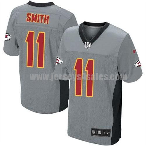 Nike Chiefs #11 Alex Smith Grey Shadow Men's Stitched NFL Elite Jersey