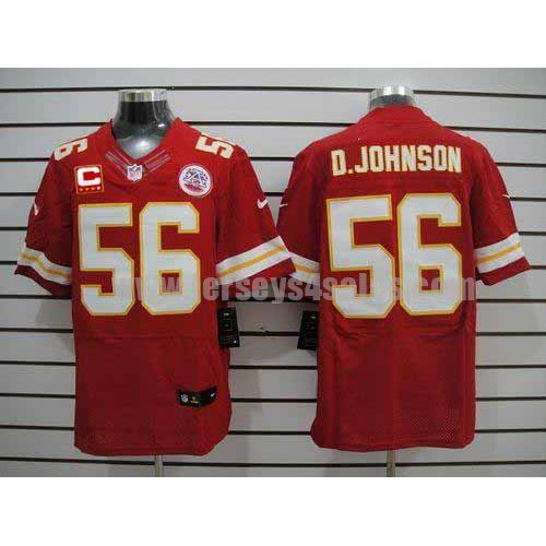 Nike Chiefs #56 Derrick Johnson Red Team Color With C Patch Men's Stitched NFL Elite Jersey