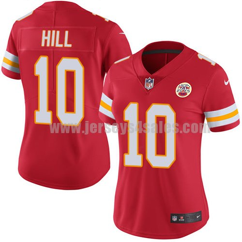 Nike Kansas City Chiefs #10 Tyreek Hill Red Team Color Women's Stitched NFL Vapor Untouchable Limited Jersey