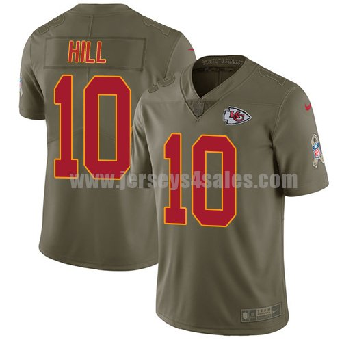 Nike Kansas City Chiefs #10 Tyreek Hill Olive Youth Stitched NFL Limited 2017 Salute to Service Jersey