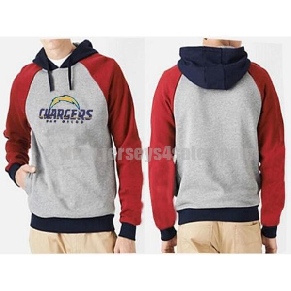 Los Angeles Chargers Authentic Logo Pullover Hoodie Grey & Red