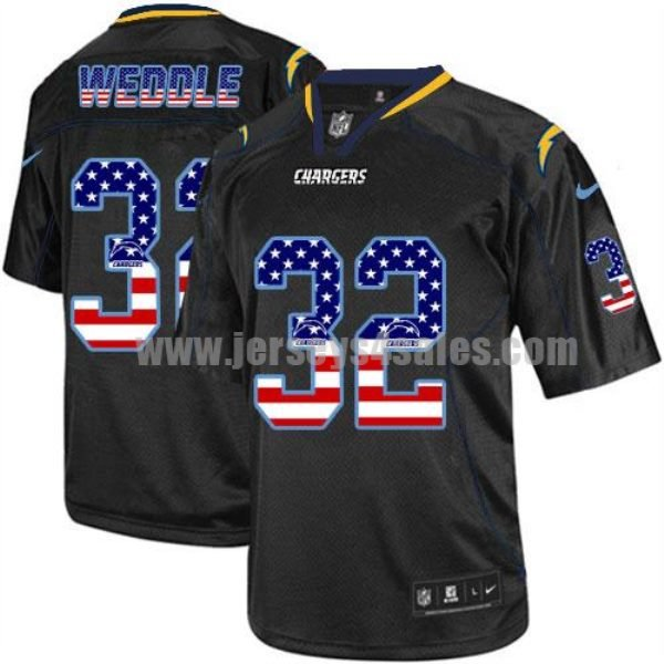 Nike Chargers #32 Eric Weddle Black Men's Stitched NFL Elite USA Flag Fashion Jersey