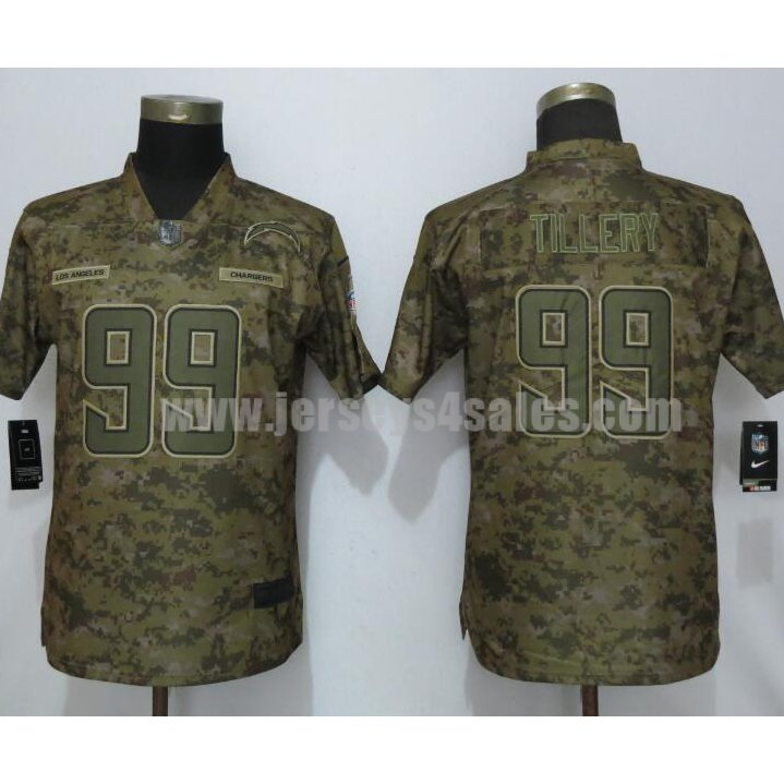 Women's New Nike Los Angeles Chargers #99 Jerry Tillery Camo Salute To Service Limited Jersey