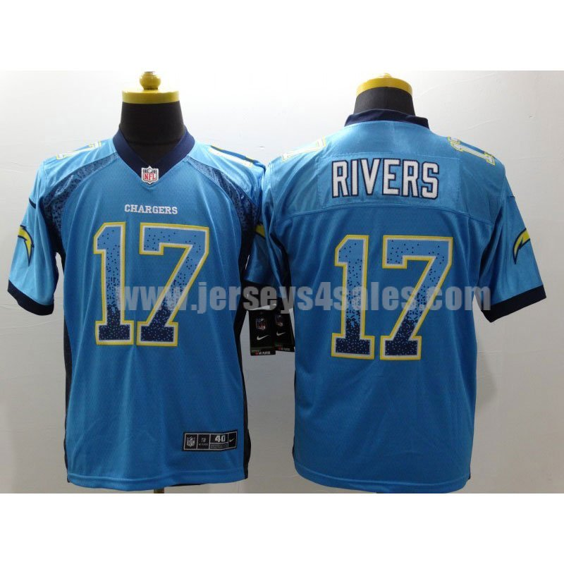 Men's Los Angeles Chargers #17 Philip Rivers Blue Nike Stitched NFL Elite Drift Fashion Jersey
