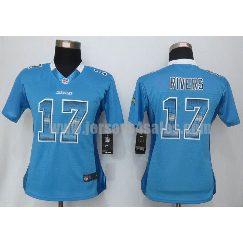 Women's Los Angeles Chargers #17 Philip Rivers Light Blue Team Color Stitched Strobe Nike NFL Elite Jersey