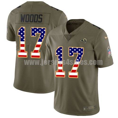 Nike Los Angeles Rams #17 Robert Woods Olive/USA Flag Men's Stitched NFL Limited 2017 Salute to Service Jersey