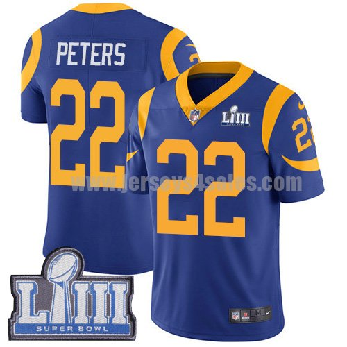Nike Los Angeles Rams #22 Marcus Peters Royal Blue Alternate Super Bowl LIII Bound Youth Stitched NFL Vapor Untouchable Limited Jersey