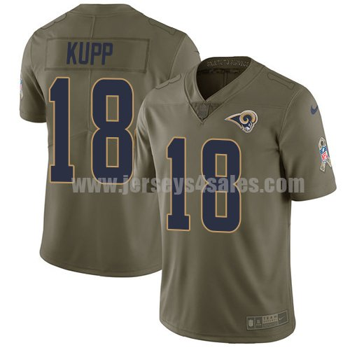Nike Los Angeles Rams #18 Cooper Kupp Olive Men's Stitched NFL Limited 2017 Salute to Service Jersey