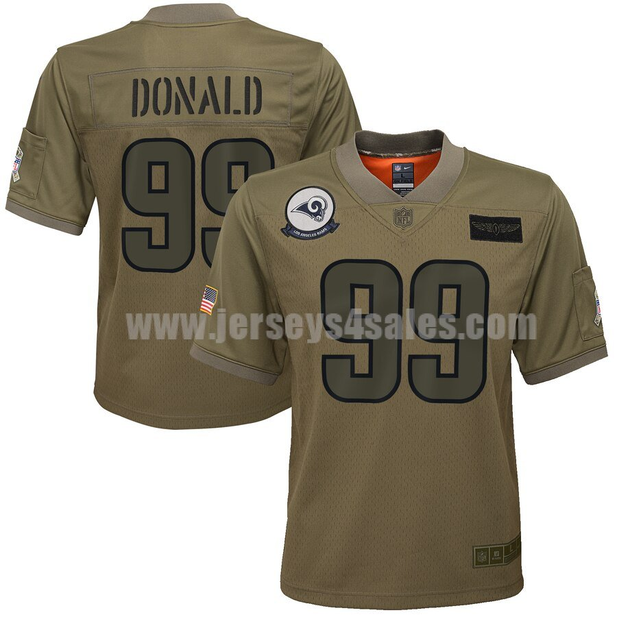 Youth Los Angeles Rams #99 Aaron Donald Nike Camo 2019 Salute to Service Game Jersey