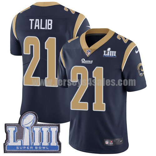 Nike Los Angeles Rams #21 Aqib Talib Navy Blue Team Color Super Bowl LIII Bound Men's Stitched NFL Vapor Untouchable Limited Jersey