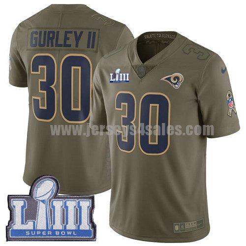 Nike Los Angeles Rams #30 Todd Gurley II Olive Super Bowl LIII Bound Men's Stitched NFL Limited 2017 Salute to Service Jersey