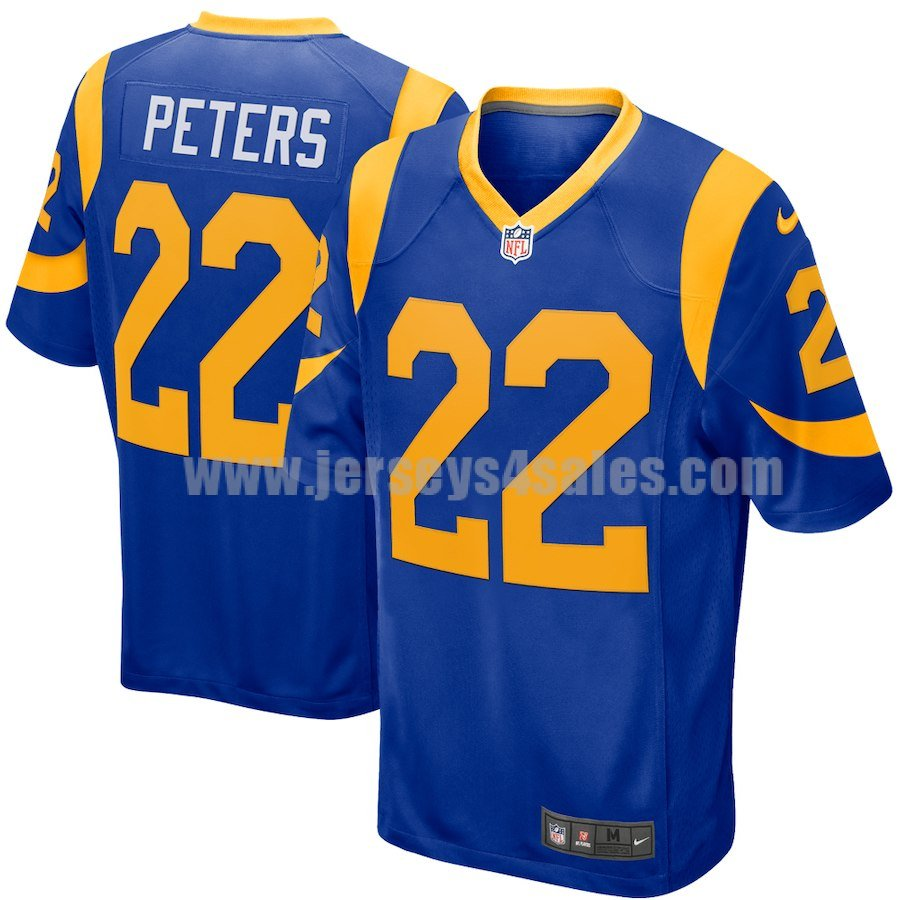 Men's Nike Angeles Rams #22 Marcus Peters Royal NFL Game Jersey
