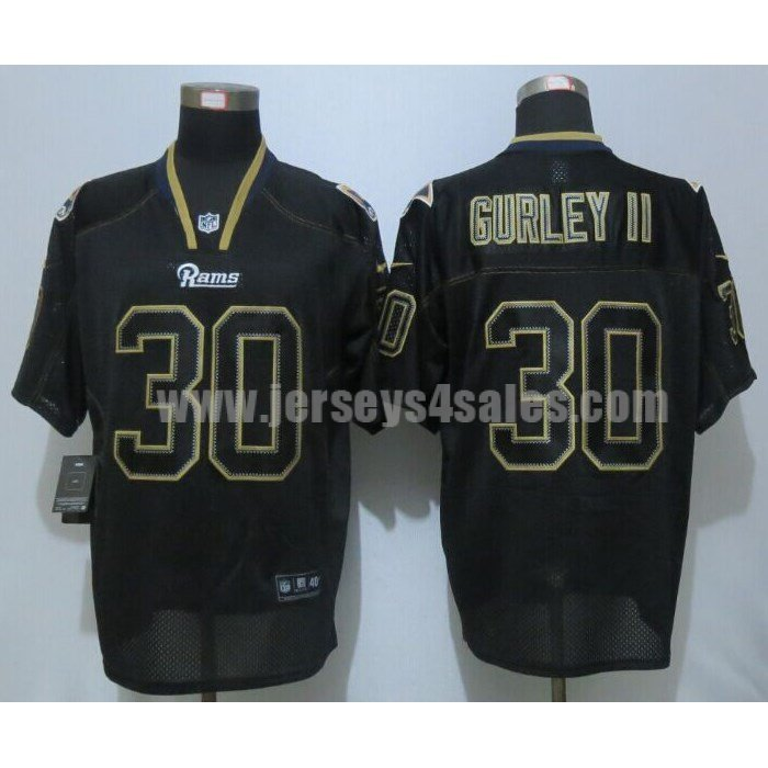 Men's Los Angeles Rams #30 Todd Gurley II Black Stitched Nike NFL Lights Out Elite Jersey