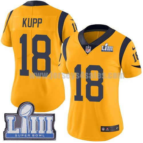 Nike Los Angeles Rams #18 Cooper Kupp Gold Super Bowl LIII Bound Women's Stitched NFL Limited Rush Jersey