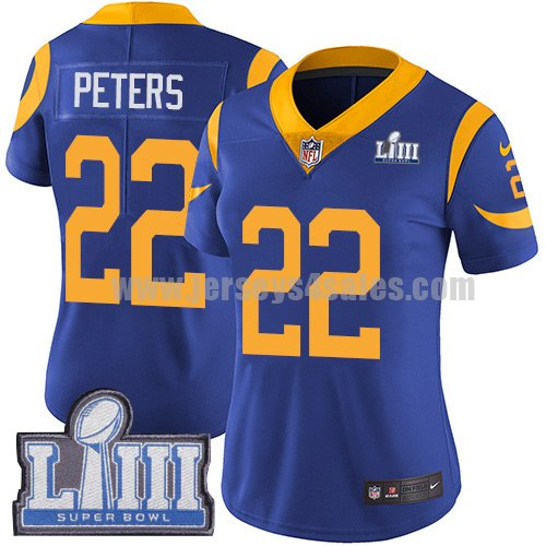 Nike Los Angeles Rams #22 Marcus Peters Royal Blue Alternate Super Bowl LIII Bound Women's Stitched NFL Vapor Untouchable Limited Jersey