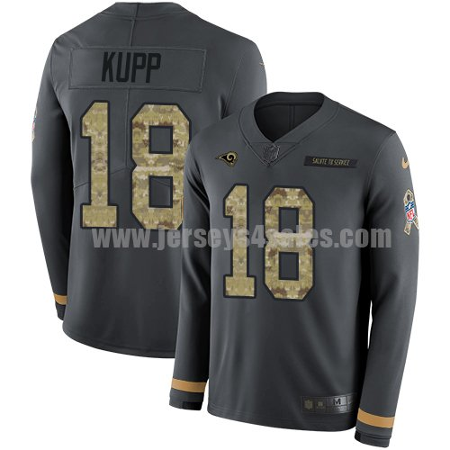 Nike Los Angeles Rams #18 Cooper Kupp Anthracite Salute to Service Men's Stitched NFL Limited Therma Long Sleeve Jersey