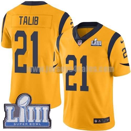 Nike Los Angeles Rams #21 Aqib Talib Gold Super Bowl LIII Bound Youth Stitched NFL Limited Rush Jersey