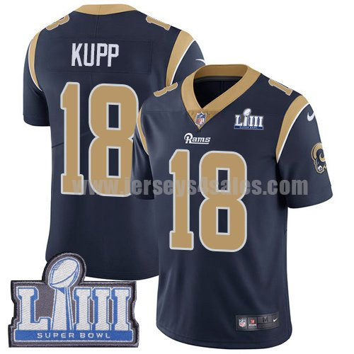 Nike Los Angeles Rams #18 Cooper Kupp Navy Blue Team Color Super Bowl LIII Bound Men's Stitched NFL Vapor Untouchable Limited Jersey
